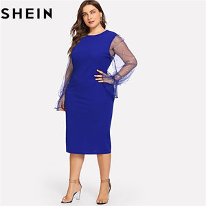 Black Pearl Beading Mesh Ruffle Sleeve Plus Size Elegant Womens Bodycon Dresses 2018 Blue Stretchy Solid Slim Pencil Dress