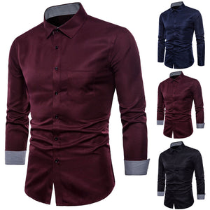 Mens Long Sleeve Oxford Formal Casual Suits Slim Fit Tee Dress Shirts Blouse Top