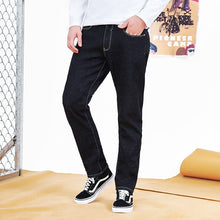 Load image into Gallery viewer, Pioneer Camp thick fleece warm jean men brand clothing autumn winter black denim pants male quality solid trousers ANZ710001