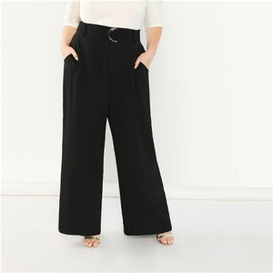 Women Black Plus Size Adjustable Belted Wide Leg Pants Autumn 2018 Office Lady Workwear Solid Loose Trousers With Sashes
