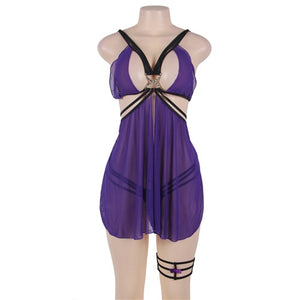 Backless Sexy Dress Lingerie Purple Pink Solid Women Baby Doll With One Leg Ring Plus Size 5XL Nuisette Sexy Femme RW70227