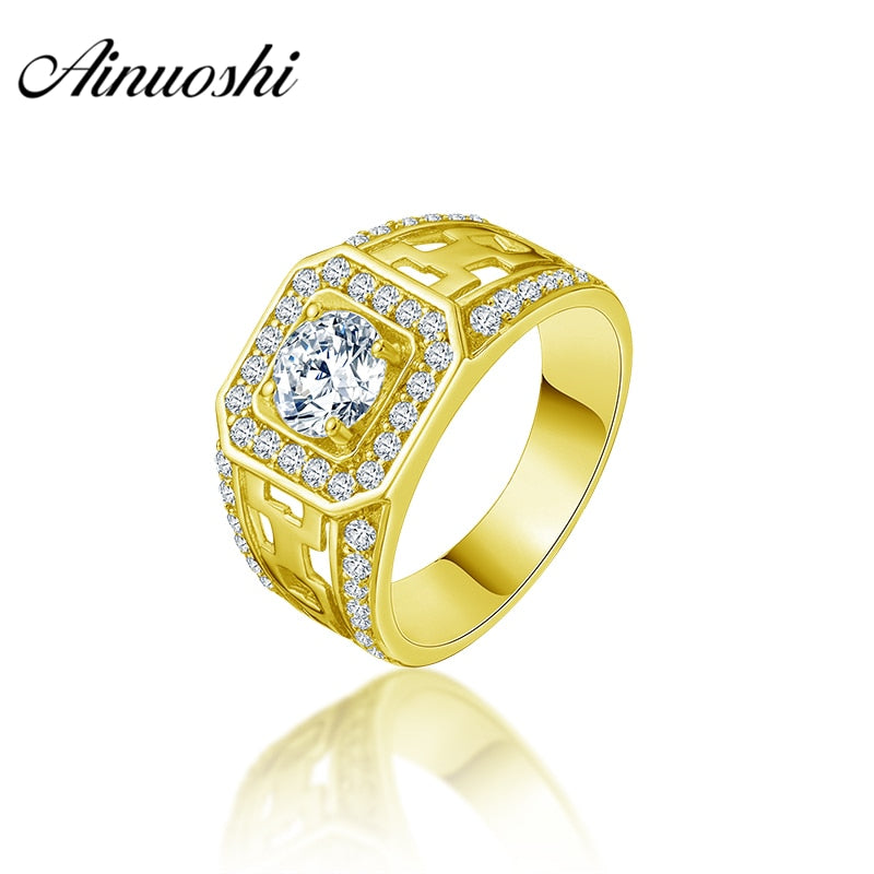 AINUOSHI 10K Solid Yellow Gold Men Ring Rows Drill Square Halo Ring Engagement Wedding Male Jewelry 5.4g Exquisite Wedding Band