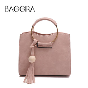 New Women Bag Shoulder Bag Handbag PU Leather Metal Ring Handle Tassel Tote Crossbody Bag Black/Grey/Pink