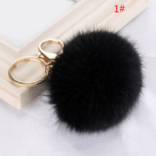 Load image into Gallery viewer, Car Keychain Key Ring Rabbit Fur Handbag Ball PomPom Pendant Charm Cell Phone