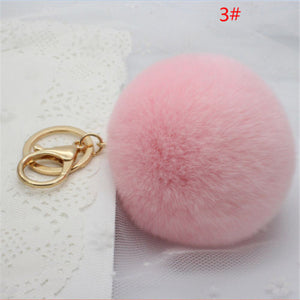 Car Keychain Key Ring Rabbit Fur Handbag Ball PomPom Pendant Charm Cell Phone