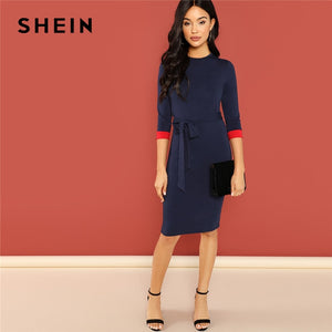Navy Office Lady Colorblock Belted 3/4 Sleeve Pencil Dress 2018 Autumn Round Neck Elegant Modern Lady Women Dresses