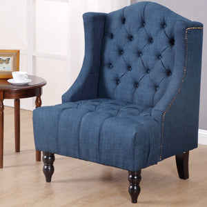 Costway Modern Tall Wingback Tufted Accent Armchair Fabric Vintage Chair Nailhead Navy