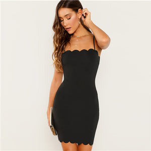 Black Form Fitting Scalloped Cami Dress Bodycon Sleeveless Slim Short Party Dress Women Autumn Highstreet Elegant Dresses