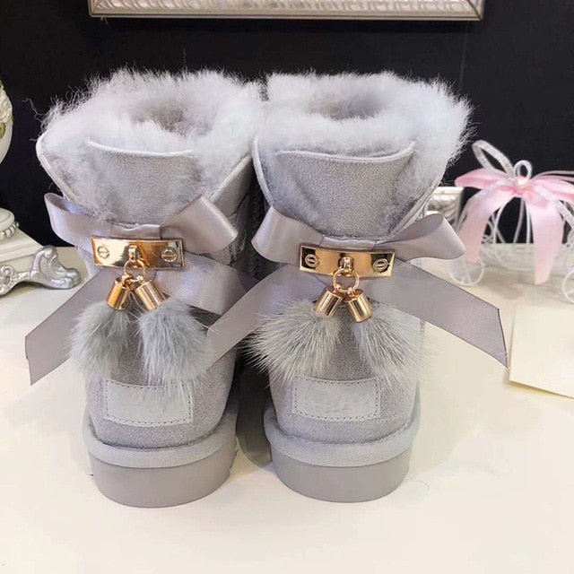 grwg Real Fur Women Snow Boots Real Wool Winter Warm Boots Genuine Sheepskin Leather Natural Fur Non-Slip Women Boots