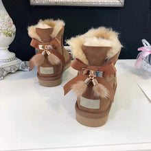 Load image into Gallery viewer, grwg Real Fur Women Snow Boots Real Wool Winter Warm Boots Genuine Sheepskin Leather Natural Fur Non-Slip Women Boots