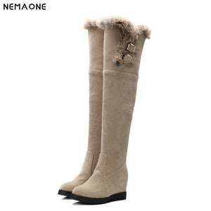 NEMAONE women wedges high heels over the knee high snow boots winter warm shoes woman fashion Ladies boots