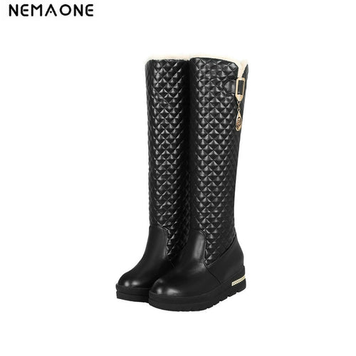 Winter Knee high snow Boots Women Fashion Slip-On med wedges heels shoes women boots big size 34-43