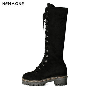 NEMAONE comfortable female boots Women Stretch Faux Slim Lace-up High Boots Knee Boots High Heels Shoes black brown
