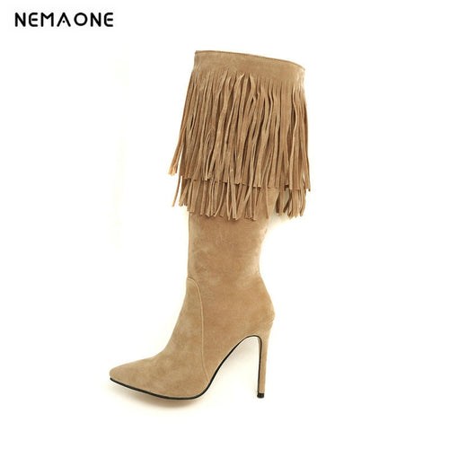 NEMAONE Sexy high heels knee high tassel women Boots autumn Winter Ladies boots party dancing shoes