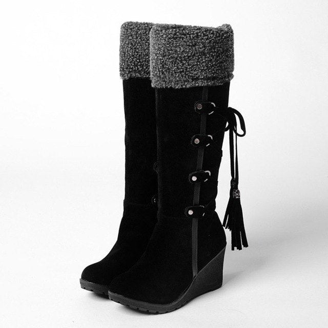 Women Snow Boots Mid-Calf Winter Warm Short Plush Female Casual Shoes Woman Wedges Fashion Platform