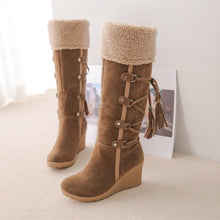 Load image into Gallery viewer, Women Snow Boots Mid-Calf Winter Warm Short Plush Female Casual Shoes Woman Wedges Fashion Platform