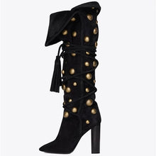 Load image into Gallery viewer, New Women Warming Fold Golden Rivets Pointed Toe Chunky Heels Fringe Lace Up Tassel Knee High Boots Fashion Long Knight Boots