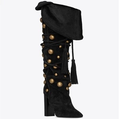 New Women Warming Fold Golden Rivets Pointed Toe Chunky Heels Fringe Lace Up Tassel Knee High Boots Fashion Long Knight Boots