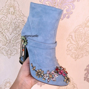 Gorgeous Purple Suede Crystal Flowers Decorated Short Boots Fancy Buckle Cut-out Caged Block Heel Ankle Boots