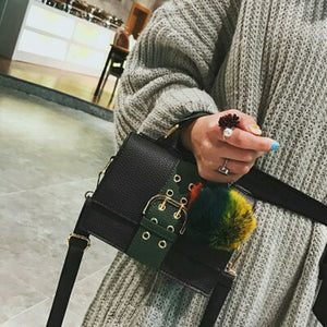 Fashion Women Shoulder Bag PU Leather Buckle Pompom Small Crossbody Messenger Bag Handbag Brown/Green/Red