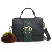 Load image into Gallery viewer, Fashion Women Shoulder Bag PU Leather Buckle Pompom Small Crossbody Messenger Bag Handbag Brown/Green/Red