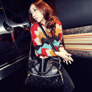 Fashion Women Leopard Sequin Paillette Bag Handbag Tote PU Shoulder Messenger Bag
