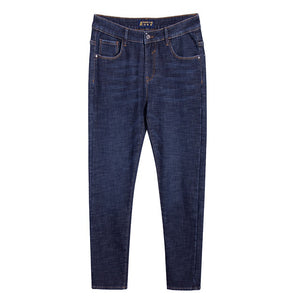 Pioneer camp new winter warm fleece jeans brand clothing solid trousers men quality thick  straight jeans pants blue ANZ803173