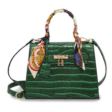 Load image into Gallery viewer, Europe Fashion Women PU Handbag Crocodile Pattern Ribbon Handle Lock Tote Shoulder Messenger Bag Black/Dark Green