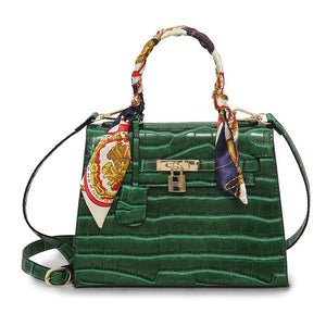 Europe Fashion Women PU Handbag Crocodile Pattern Ribbon Handle Lock Tote Shoulder Messenger Bag Black/Dark Green