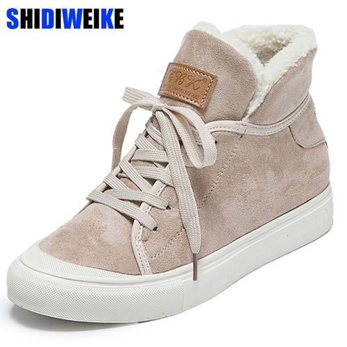 Snow Boots Hot Sale New Women Faux Suede Winter Boots Sweet Plus Female Solid Color Lacing Cotton-padded Shoes n485