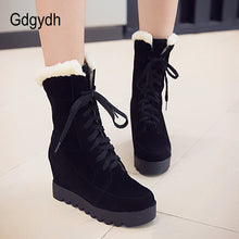 Load image into Gallery viewer, New Winter Shoes Platform Warm Snow Boots Women Lacing Fashion Round Toe Height Increasing Ankle Boots Female Shoes