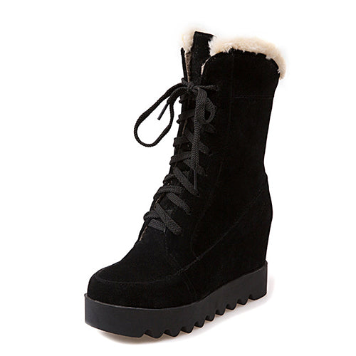 New Winter Shoes Platform Warm Snow Boots Women Lacing Fashion Round Toe Height Increasing Ankle Boots Female Shoes