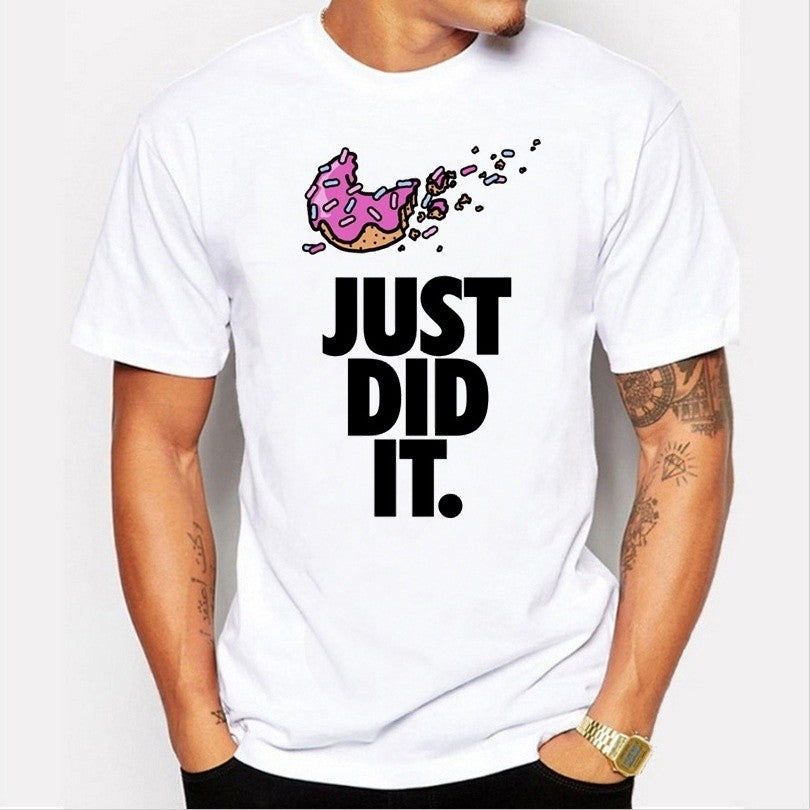 New Just Did It Donuts Print Modal T Shirt Short Sleeve Loose Cotton T-shirt Tees