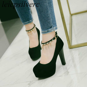 Women's Pumps Super High Heels Crystal Buckle Platform Round Toe Sexy New Fashion Spring Autumn Flock Black Rosy Red Blue