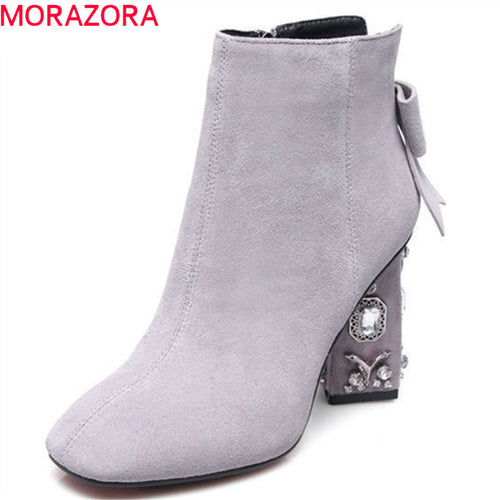 MORAZORA top quality cow suede leather shoes woman zipper bowknot party wedding shoes autumn winter high heels ankle boots