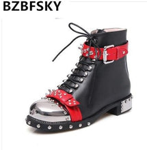 Load image into Gallery viewer, BZBFSKY Punk Genuine Leather Boots Women Rivets Square Heels Autumn Winter Ankle Boots Sexy Shoes Woman Motorcycle Snow Boots