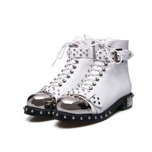 BZBFSKY Punk Genuine Leather Boots Women Rivets Square Heels Autumn Winter Ankle Boots Sexy Shoes Woman Motorcycle Snow Boots