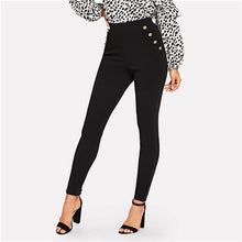 Load image into Gallery viewer, Black Office Lady Elegant Solid Pocket Button Detail High Waist Skinny Carrot Pants Autumn Fashion Workwear Women Trousers