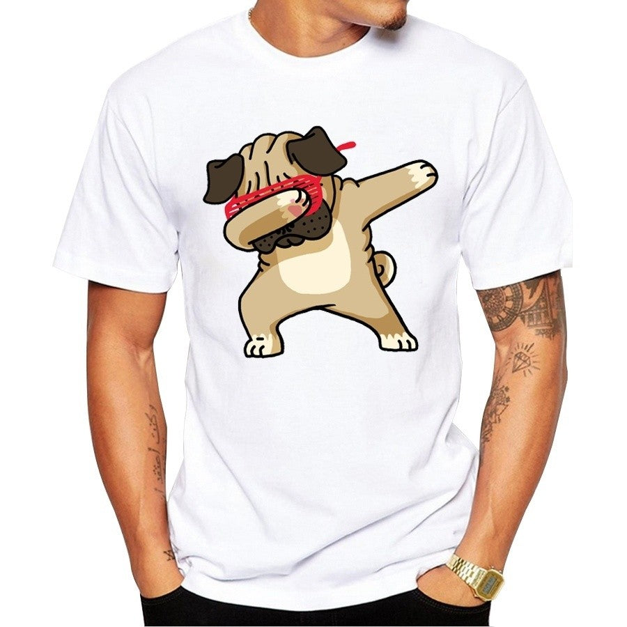 New Summer Dabbing Pug T-Shirt Newest Men Funny T Shirts  Tops Hip Hop Tee Blouse Tops Tees Funny T-Shirt