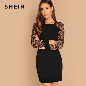 Black Elegant Workwear Leopard Print Color Block Raglan Sleeve Sequin Dress Autumn Casual Women Long Sleeve Dresses