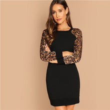 Load image into Gallery viewer, Black Elegant Workwear Leopard Print Color Block Raglan Sleeve Sequin Dress Autumn Casual Women Long Sleeve Dresses