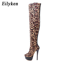 Load image into Gallery viewer, Eilyken New Flock Leather Women Over The Knee Boots Sexy Platform High Heels Women Shoes Leopard Boots Warm