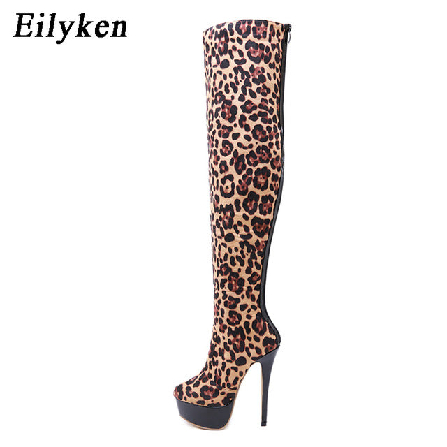 Eilyken New Flock Leather Women Over The Knee Boots Sexy Platform High Heels Women Shoes Leopard Boots Warm