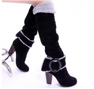 2018 autumn and winter new fashion large size matte belt buckle cuffed high boots high heel thick with suede ladies boots