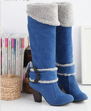 Load image into Gallery viewer, 2018 autumn and winter new fashion large size matte belt buckle cuffed high boots high heel thick with suede ladies boots