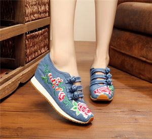 Autumn Winter Women Flat Shoes Chinese Old BeiJing Tourism Peacock Embroidered Floral Walk Dance Canvas Shoes Woman