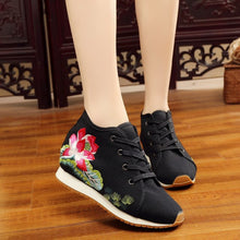 Load image into Gallery viewer, Autumn Winter Women Flat Shoes Chinese Old BeiJing Tourism Peacock Embroidered Floral Walk Dance Canvas Shoes Woman