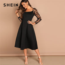 Load image into Gallery viewer, Night Out Black Contrast Mesh Appliques Pleated Square Neck Knee Length Dress Autumn Modern Lady Workwear Women Dresses