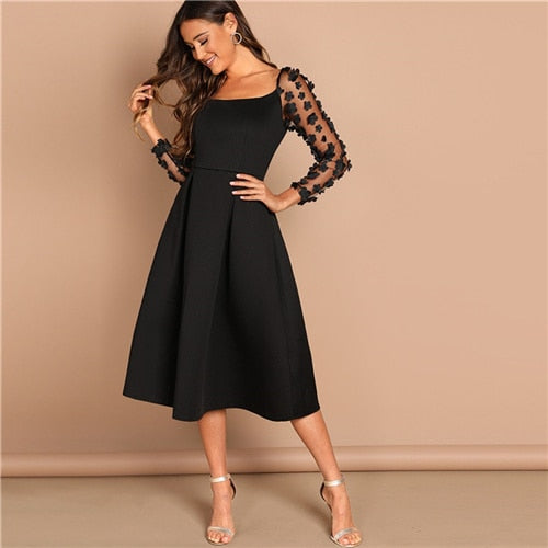 Night Out Black Contrast Mesh Appliques Pleated Square Neck Knee Length Dress Autumn Modern Lady Workwear Women Dresses