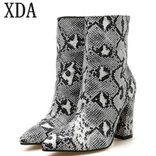 Load image into Gallery viewer, XDA Women Zipper Snake Print Ankle Boots high heel Fashion Pointed toe Ladies Sexy martin boots 2019 Chelsea short Boots A179